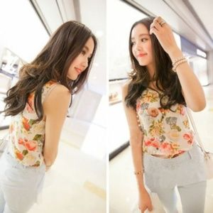 Tops - Off White Floral Lightweight Tank Top Blouse